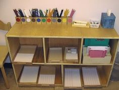 Art station  - pencils sorted by colour  - wet wipe box  - include other boxes with different materials each day/week  - wooden trays for transporting materials to work space