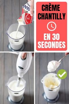 Comment Faire De la Crème Chantilly Maison En 30 Secondes Chrono The recipe of the cream chantilly ultra easy and fast in 30 seconds chrono Cake Recipes, Dessert Recipes, Desserts With Biscuits, Recipes With Whipping Cream, Mousse, Homemade Whipped Cream, Coffee Plant, Vegetable Drinks, Cata