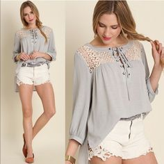 CHARLIZE Tie Up Lace Blouse - SILVER Super feminine Tie Up Lace Blouse. Hi lo style. NO TRADE, PRICE FIRM Bellanblue Tops Blouses