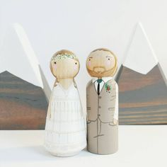 CUSTOM wedding cake toppers // 3 1/2 peg doll by PegandPlum