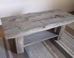 Barn Wood Tables on Pinterest - Farm Style Table With Storage Bench