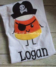 Candy Corn Pirate Halloween Shirt  Boy Halloween by OurLilBowtique
