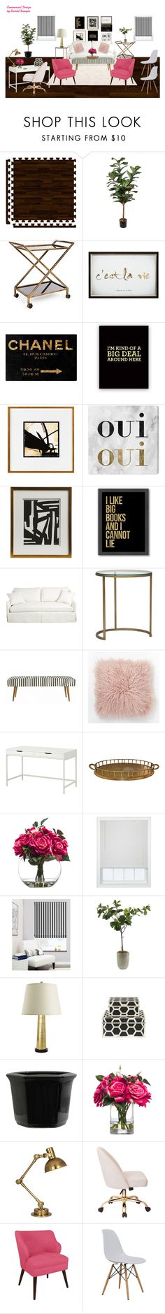 """""""Office - Pink"""" by scarlet-designs on Polyvore featuring interior, interiors, interior design, home, home decor, interior decorating, Oliver Gal Artist Co., Frontgate, Emporium Home and Americanflat"""