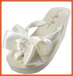 5f78cd3fb Bridal Flip Flops Wedding Wedge Heel Sandals Ivory White Vintage Lace  Rhinestone Satin Bow Platform 8