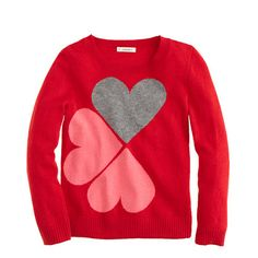 Girls' floating hearts sweater