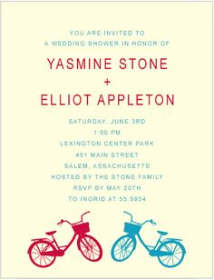 Couple Bicycle Colors Bridal Shower Invitations HPB165 You Are Invited, Text Color, Bridal Shower Invitations, Invitation Cards, Rsvp, Colorful Backgrounds, Bicycle, Couple, Colors