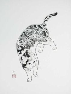 L'artiste japonais Kazuaki Horitomo, aujourd'hui basé en Californie, a décidé de mélanger ses deux grandes passions, les tatouages et les chats. Des créa