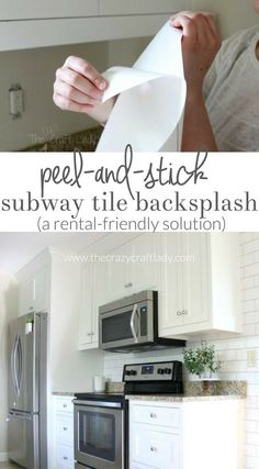 White subway tile backsplash with removable wallpaper temporary backsplash for rental-friendly Apartment Hacks, Apartment Kitchen, Apartment Living, Dream Apartment, Apartment Makeover, Apartment Renovation, Apartment Interior, Living Rooms, Do It Yourself Decoration