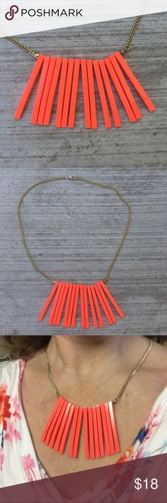 """Neon ORANGE STATEMENT NECKLACE SPIKE gold chain Unique interesting and chic bold bright orange spike necklace. Creates the pop of color great for your spring/summer outfits. With gold chain. 21"""" end to end. Spikes are 2.25"""" long. So fresh! (My1) Jewelry Necklaces"""