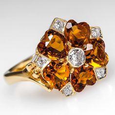 Floral Citrine & Diamond Ring