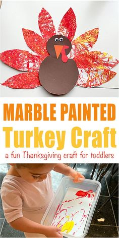Marble Painted Thanksgiving Turkey Craft Marble Painted Thanksgiving Turkey Craft - HAPPY TODDLER PLAYTIME Here is a super fun Thanksgiving turkey craft perfect for toddlers and preschoolers! Create textured turkey feathers using a marble. Thanksgiving Turkey Pictures, Thanksgiving Crafts For Toddlers, Autumn Activities For Kids, Thanksgiving Activities, Fall Crafts, Thanksgiving Food, Free Activities, Creative Activities, Holiday Activities