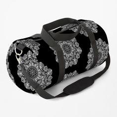 White Mandala Pattern - Just Let Go Duffle Bag Mandala Pattern, Work Travel, Chiffon Tops, Letting Go, Gym Bag, Shoulder Strap, Backpacks, Let It Be, Stuff To Buy