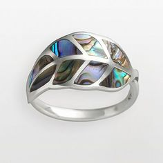 Sterling Silver Abalone Leaf Ring, how pretty!