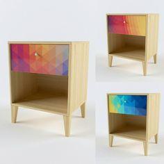 Мы дополнили серию Geometria прикроватными тумбами. В них есть отделение для хранения книг и удобный выкатной ящик для разных мелочей. Доступны три принта. Также возможно нанесение других изображений. Достаточно прислать их нам на электронную почту в хорошем разрешении. #прикроватнаятумба #nightstand #мебельмосква #мебельназаказ #мебель #интерьер #дизайнинтерьера #делаеммебель #furniture #design #купитьмебель #красиваямебель