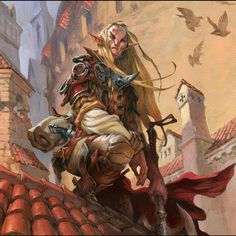 Jesper Ejsing Acrylic Painting Elf scout Magic the gathering illustration Fantasy Races, High Fantasy, Fantasy Warrior, Fantasy Rpg, Medieval Fantasy, Fantasy World, Elves Fantasy, Fantasy Castle, Magic The Gathering