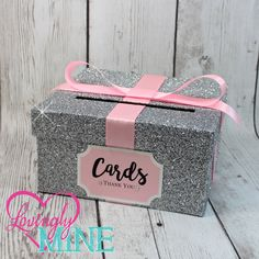 Cardbox Glitter Silver And Baby Pink Gift Money Box For Any Event Shower Wedding Bridal Birthday Party Sweet 16