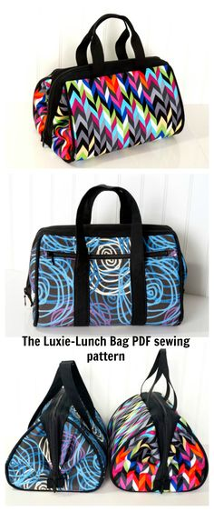 """The Luxie-Lunch Bag - PDF Sewing Pattern - Lunch Bag, Handbag, Toiletries Kit Bag. This pattern requires: 1 Set (Pair) Internal Wire Frame, Style B (10"""" x 3 1/2"""") available at emmalinebags.com.  Carry your lunch, make-up, overnight items, or the entire contents of your handbag in luxury."""