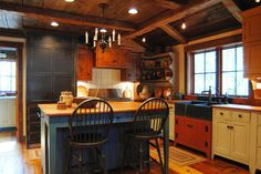 Central Kentucky Log Cabin Primitive Kitchen - eclectic - kitchen - louisville - by The Workshops of David T. Smith
