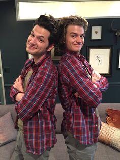 Stranger Twins - Joe Keery (Steve Harrington) and Ben Schwartz (Jean Ralphio)