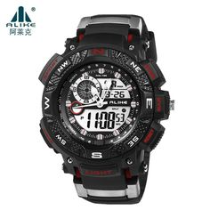 Hot Sale Brand Alike 50m Waterproof Swimming Sports Watches Men Quartz Analog Digital Watch Rubber Wrist LED Watch for Men Women