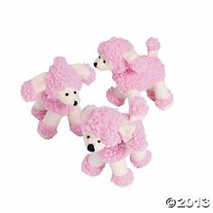 "Plush Pink Poodles - These adorable 4"" poodles will win your heart. (now $15.00/were $18.00 per dozen)"