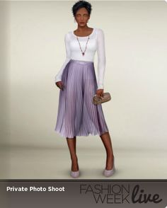 Today's model is wearing:  --French lavender sheer pleated skirt  -- Ivory translucent sweater