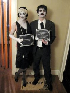 Not in the mood for another Halloween party? You don't have to say a word if you're dressed as silent film characters! Needed: Black formal attire, white/grey body and face paint and black cardboard for captions. #halloween #couplescostumes