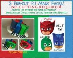 Pj Masks Heads edible faces cake decorations by Pictures4Cakes