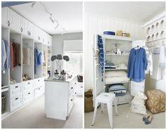 Dalani-Cambio-Armadio Organizzare il Guardaroba Scarpe Sgabelli Cuscini Bianco e Blu