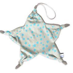 Doudou étoile attache tétine noeud gris taupe étoile turquoise
