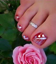 Image detail for -Easy Toe Nail Art Designs cute summer toenail art designs – . This looks like a cool idea for Valentines . Pretty Toe Nails, Cute Toe Nails, Fancy Nails, Toe Nail Art, Pretty Toes, Acrylic Nails, Nail Nail, Trendy Nails, Hair And Nails