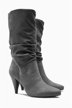 Buy Grey Slouch Cone Heel Boots from the Next UK online shop