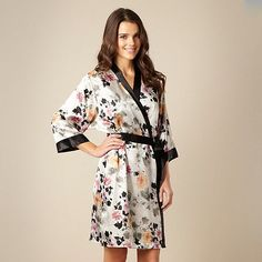 Presence Grey short sketched floral satin robe