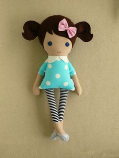 Reserved for Amy Fabric Doll Rag Doll Brown Haired by rovingovine