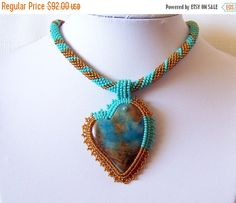 WINTER SALE Heart Necklace  Beadwork Bead Embroidery by lutita