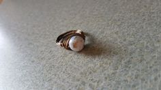 White Bead Wire Wrap Ring