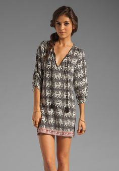 TOLANI Tassel Dress in Black/White Elephant at Revolve Clothing - Free Shipping! @Robin King elephants :)