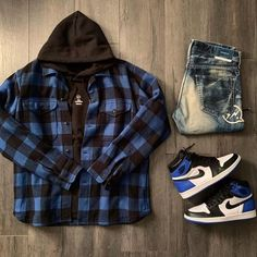 Behind The Scenes By fvshionhub Jordans Outfit For Men, Cool Outfits For Men, Swag Outfits Men, Flannel Outfits, Stylish Mens Outfits, Retro Outfits, Hype Clothing, Mens Clothing Styles, Street Style Outfits Men