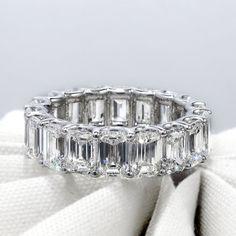8.00 Ct. U-Setting Emerald Cut Diamond Eternity Ring F-G Color VS1 Clarity