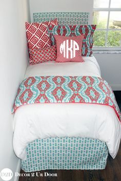 A twist on one of our best selling dorm bedding sets of crazy coral and calming aqua create a bedding ensemble sure to be a hit! Trendy geometric and ikat patterns collide in your favorite color wave.