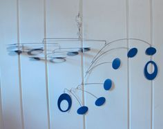 Blue Mobile Rolling Style  Low Ceiling Kinetic Art by skysetter