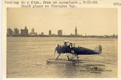 Reeling in a Fish from an Aquaplane, Chalk Plane on Biscayne Bay. Miami Skyline, Magic City, Miami Vice, Vintage Florida, Aviation, Fish, Plane, Painting, Pisces