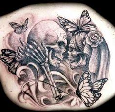sugar skull kissing tattoo - Google Search