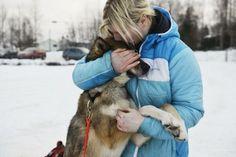 Rookie #Iditarod musher Yvonne Dabakk, of Fairbanks, hugs Krutt on the eve of the ceremonial start.