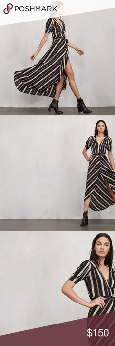 Reformation Lochness Dress in Casbah You know those long, lovely dresses you can put on and instantly feel amazing in with zero effort? The Lochness Dress is one of those. So it's kind of our speciality. This is a crepe wrap maxi dress with pleated short sleeves and a fitted tie waist. Oh, and the skirt looks amazing when you walk - we may or may not have designed it to show just a little bit of leg. Made from 100% viscose. Reformation Dresses Midi