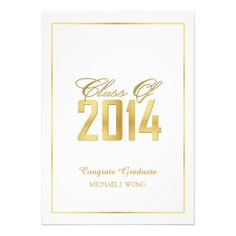 Elegant Modern Gold Class of 2014 Graduation Invite