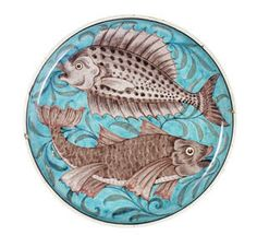 Charles Passenger for William De Morgan a Footed Dish with Fish Design, circa 1890