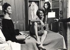 Ava Gardner, Martin Sheen and Sofia Loren filming the Cassandra Crossing, 1976