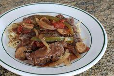 Crock Pot Smothered Steak on Fine Noodles