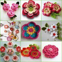 Crochet Flowers - free patterns-diagrams-video - Knitted crochet flowers | Marieta's Yarnland